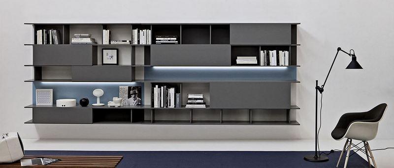 Una libreria componibile in salotto proposta moderna